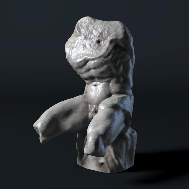 3d model of belvedere torso sculpture