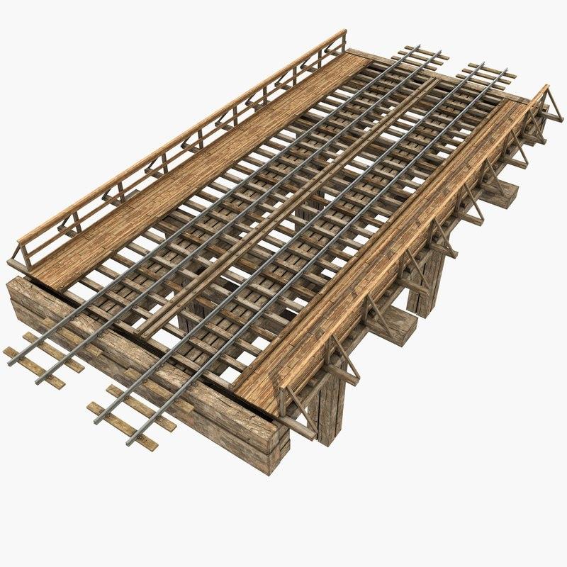 old wooden railway bridge model