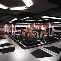 Sci Fi Spaceship Station Corridor