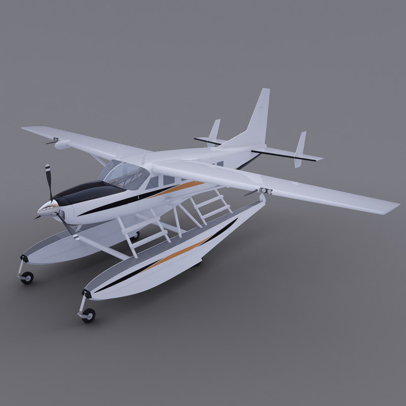 3d model polygonal cessna caravan amphibian