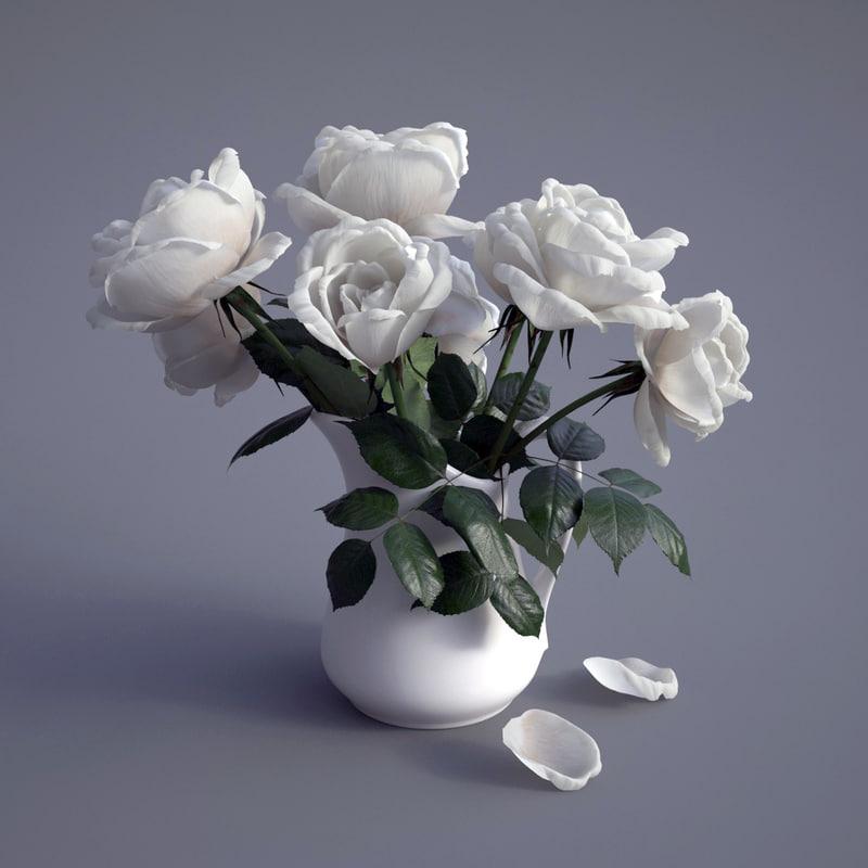 bouquet roses 3d max