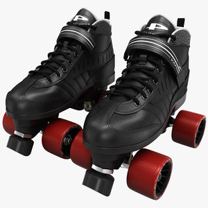 3ds max quad roller skates black