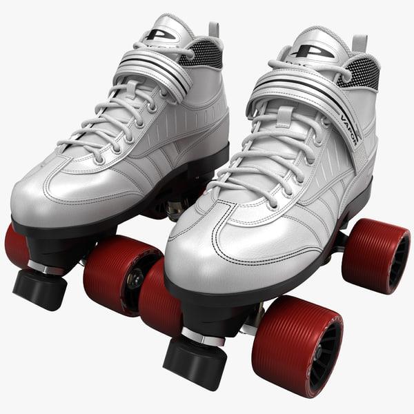 quad roller skates white 3ds