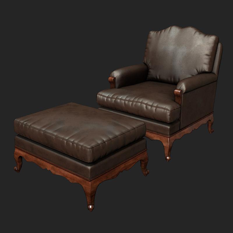 leather chair 3d obj