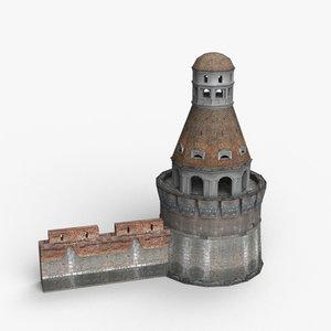 tower walls 3d model