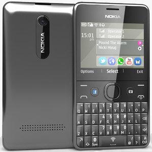 3d model nokia asha 210 black