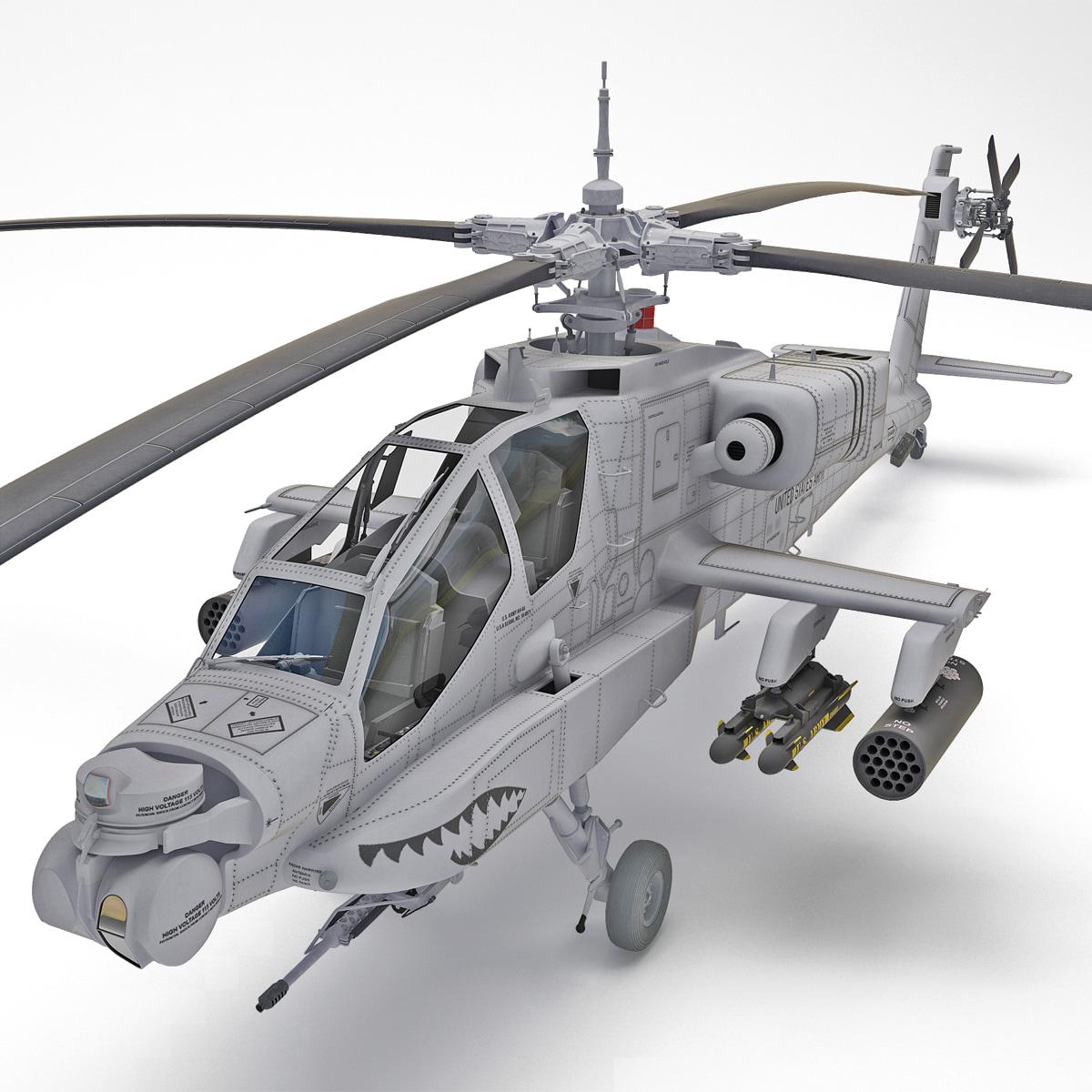 ah-64 apache 2 helicopter 3d obj