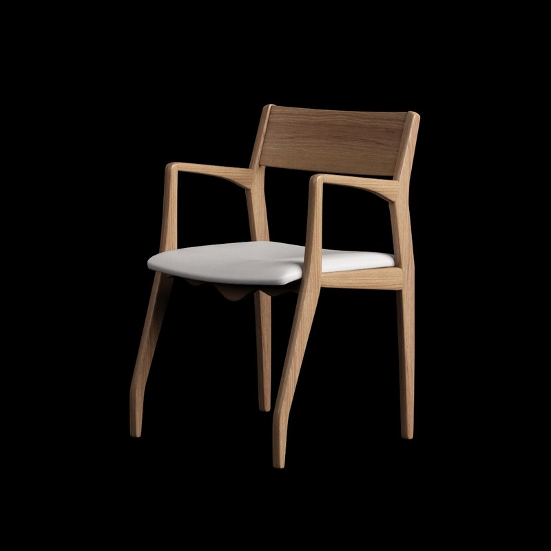3d wooden chair arm wood