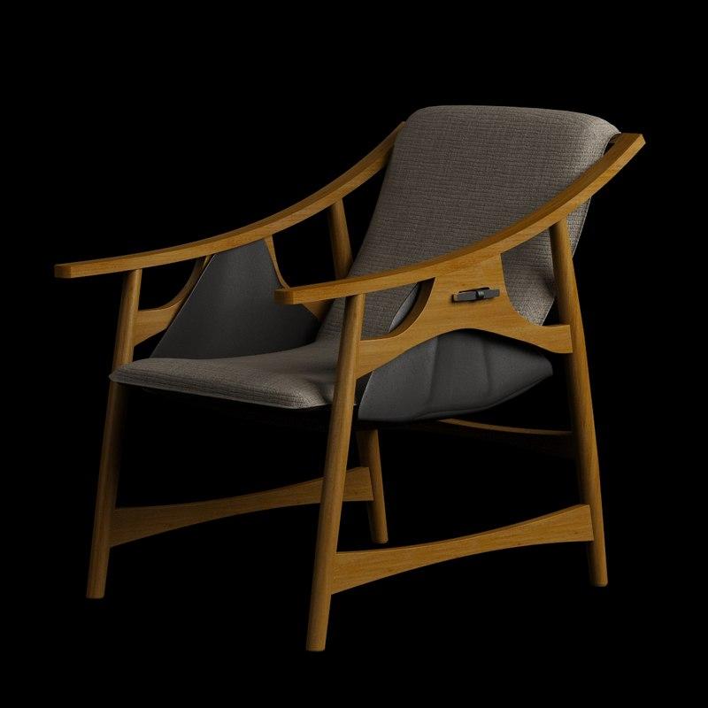 armchair wood 3d max