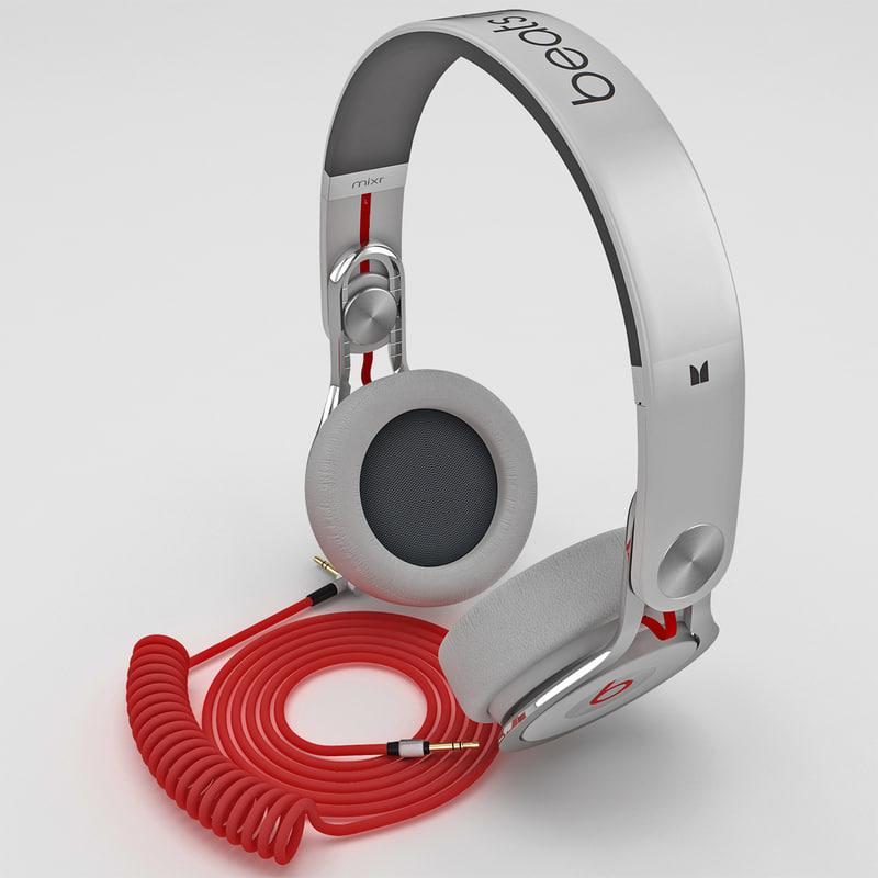 headphones monster beats mixr 3d model
