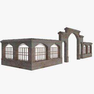 gardenwall fence 4 3d dwg