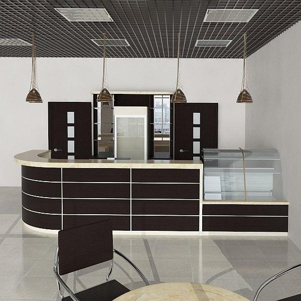 3d model bar interior