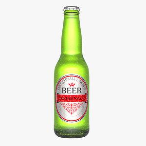 3d model beer bottle water droplets