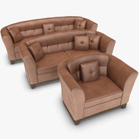 max realistic leather sofa set