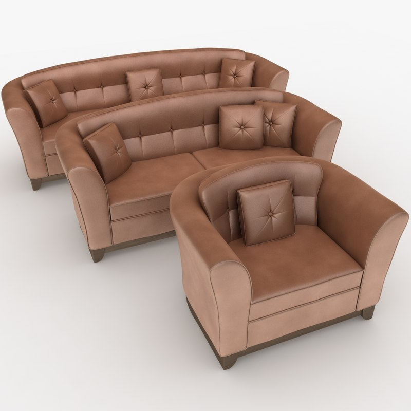 max realistic leather sofa set