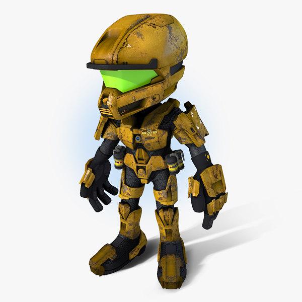 scifi cartoon trooper model