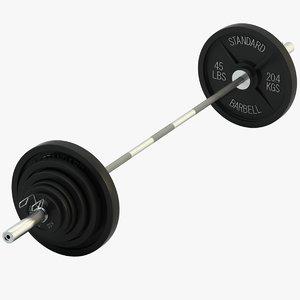 standard olympic barbell 3d model