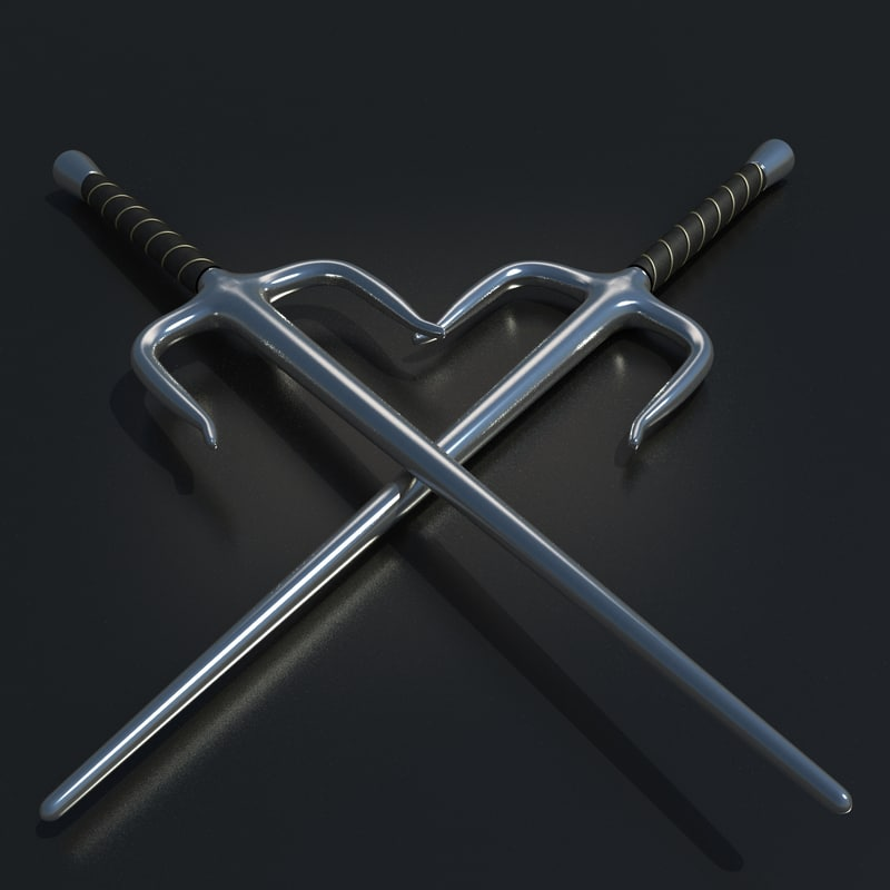 3d model sai ninja weapon