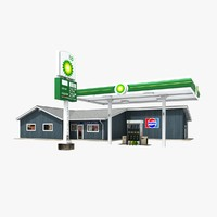 3d model bp gas station convenience store