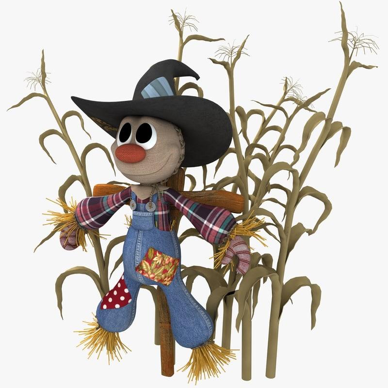cute plush style scarecrow obj