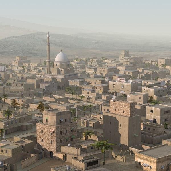 desert city scene houses 3d max