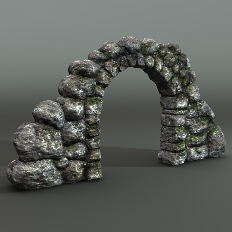 3d ancient mossy stone arc model