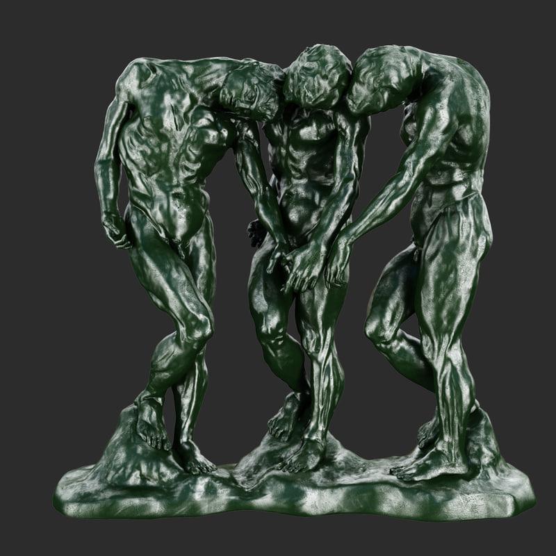 obj statues shades rodin