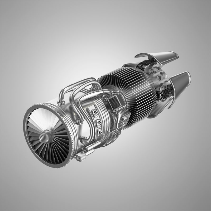 3d model of jet engine cutaway