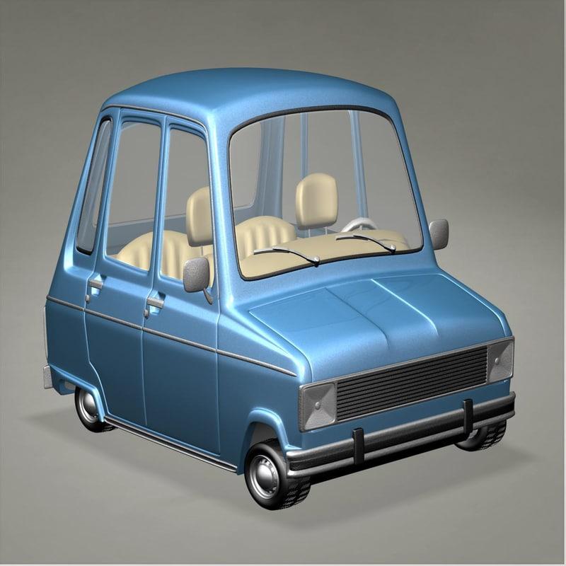 renault 6 cartoon car 3d max