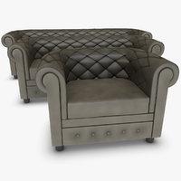 realistic chester sofa set 3d model