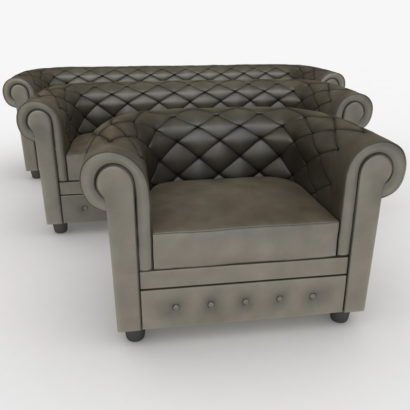 realistic chester sofa set 3d model