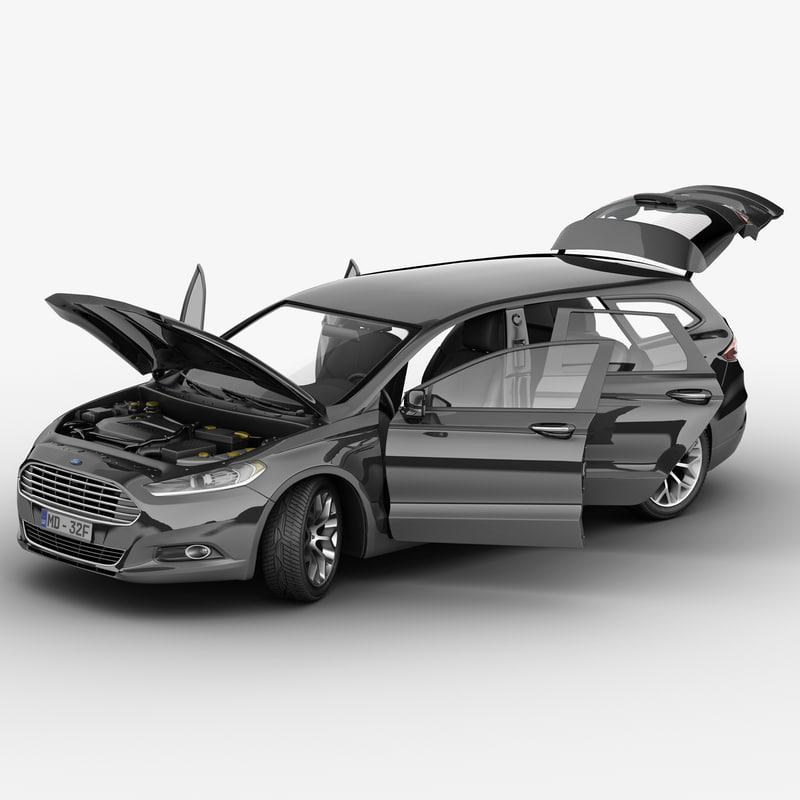 mondeo 2013 wagon rigged car 3d max