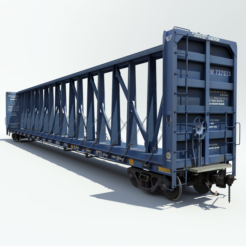 3ds max railway centerbeam flat car