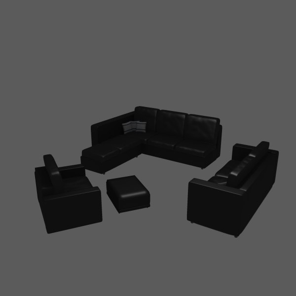 matching leather furniture sofa chair 3d x
