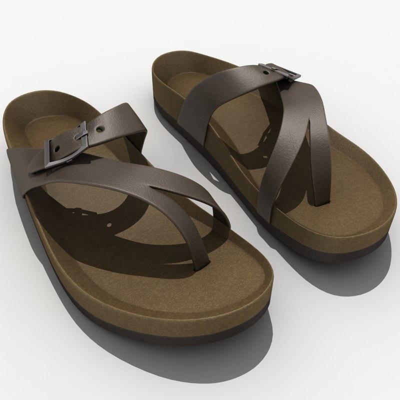 3d model teva naot sandal leather