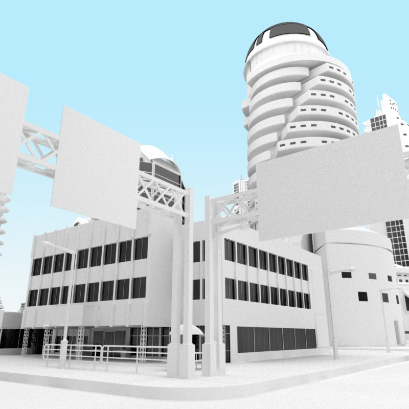 modern city obj