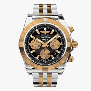 breitling chronomat steel gold 3d model