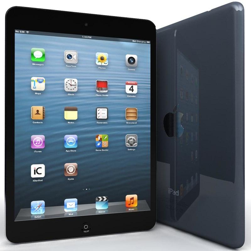 apple ipad mini blue 3d model