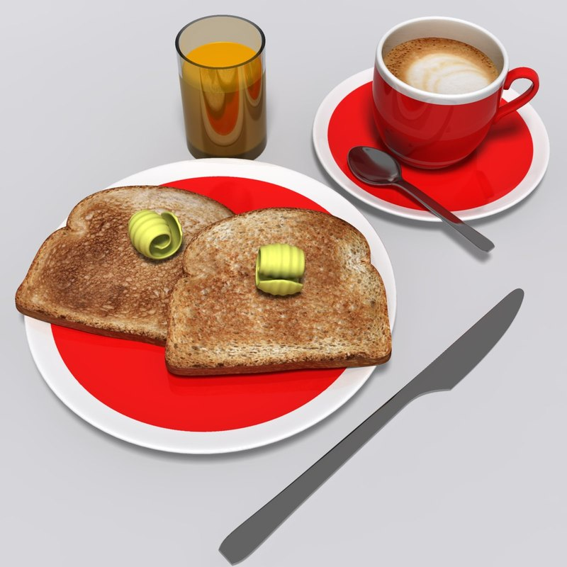 realistic breakfast 3d obj