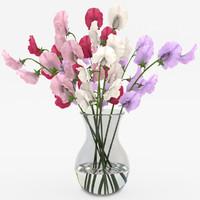 sweet peas vase 3d obj