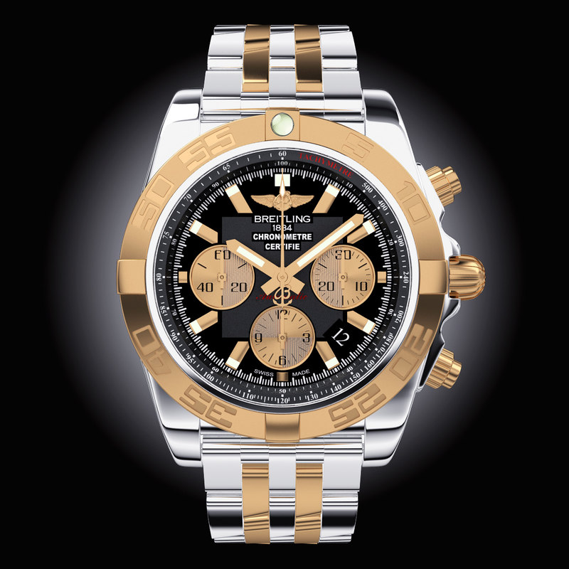 breitling chronomat steel gold 3d model