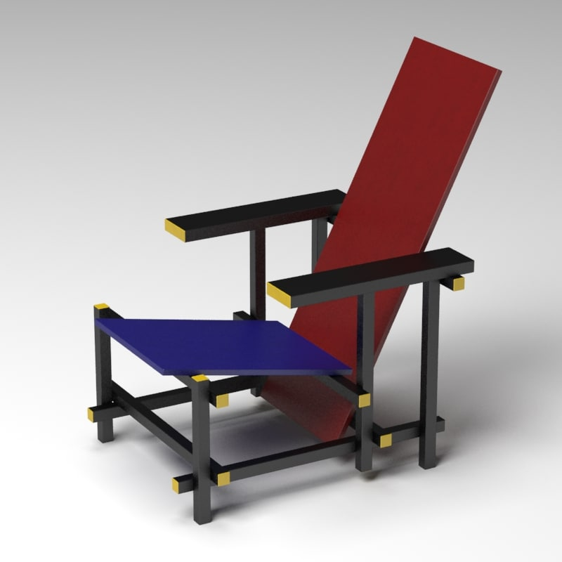 rietveld red blue chair 3d mol