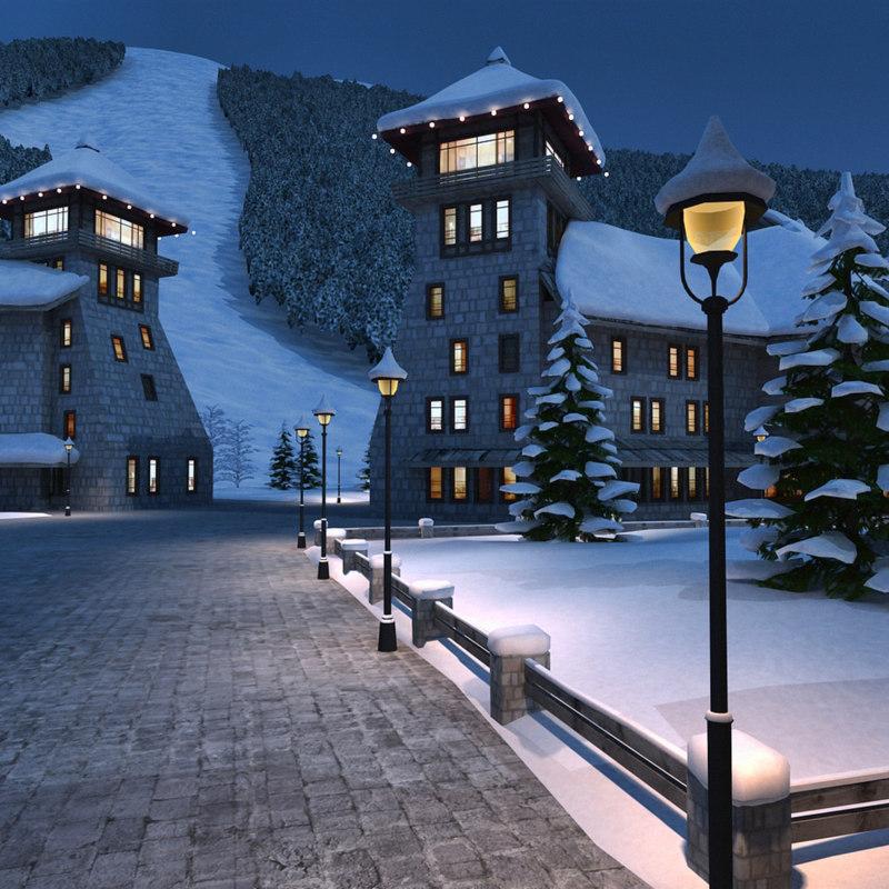 3d mountain town winter