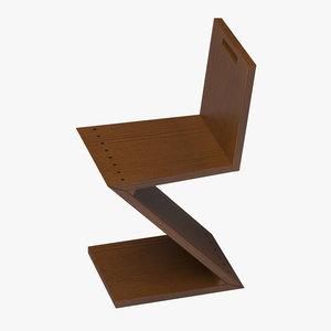 zig-zag chair rietveld 3d max