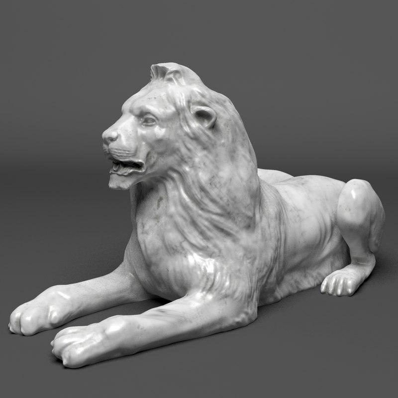 stone lion sculpture 3d model
