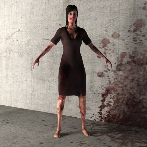 zombie 03 female character 3d max