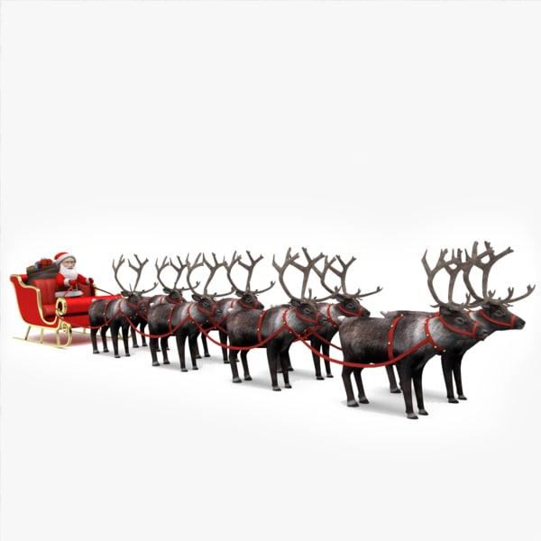 3d santa s sleigh reindeer model