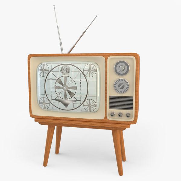 3d retro tv set model