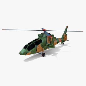 3d model of kawasaki oh-1 military helicopter
