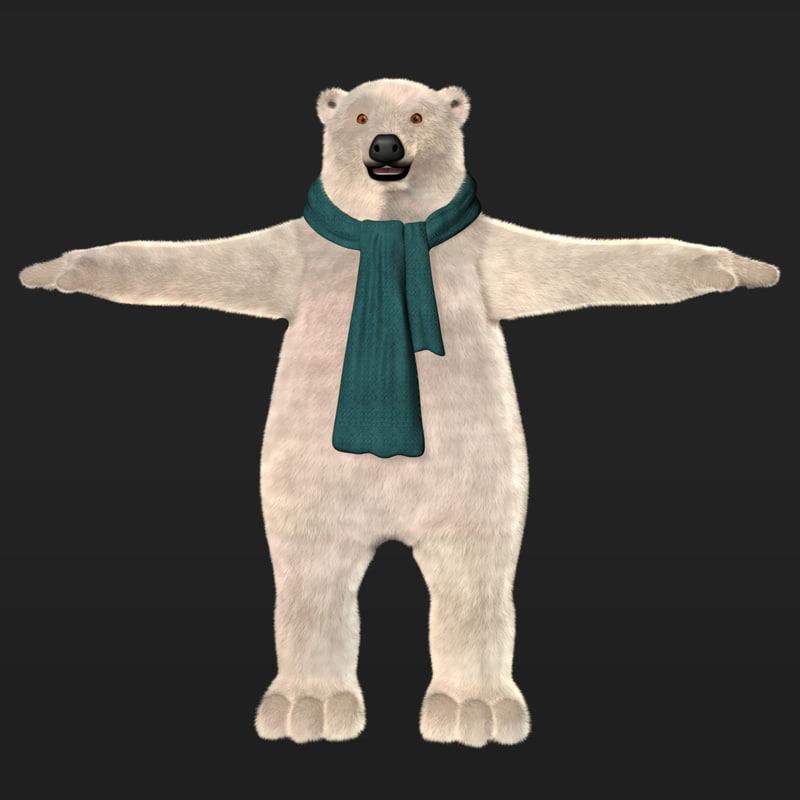 cartoon polar bear fur 3d model